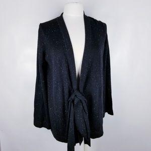 LOFT Small Black Tie Front Cardigan Sweater